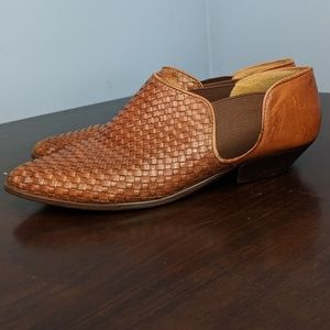 Vintage Woven Leather booties Huaraches caramel